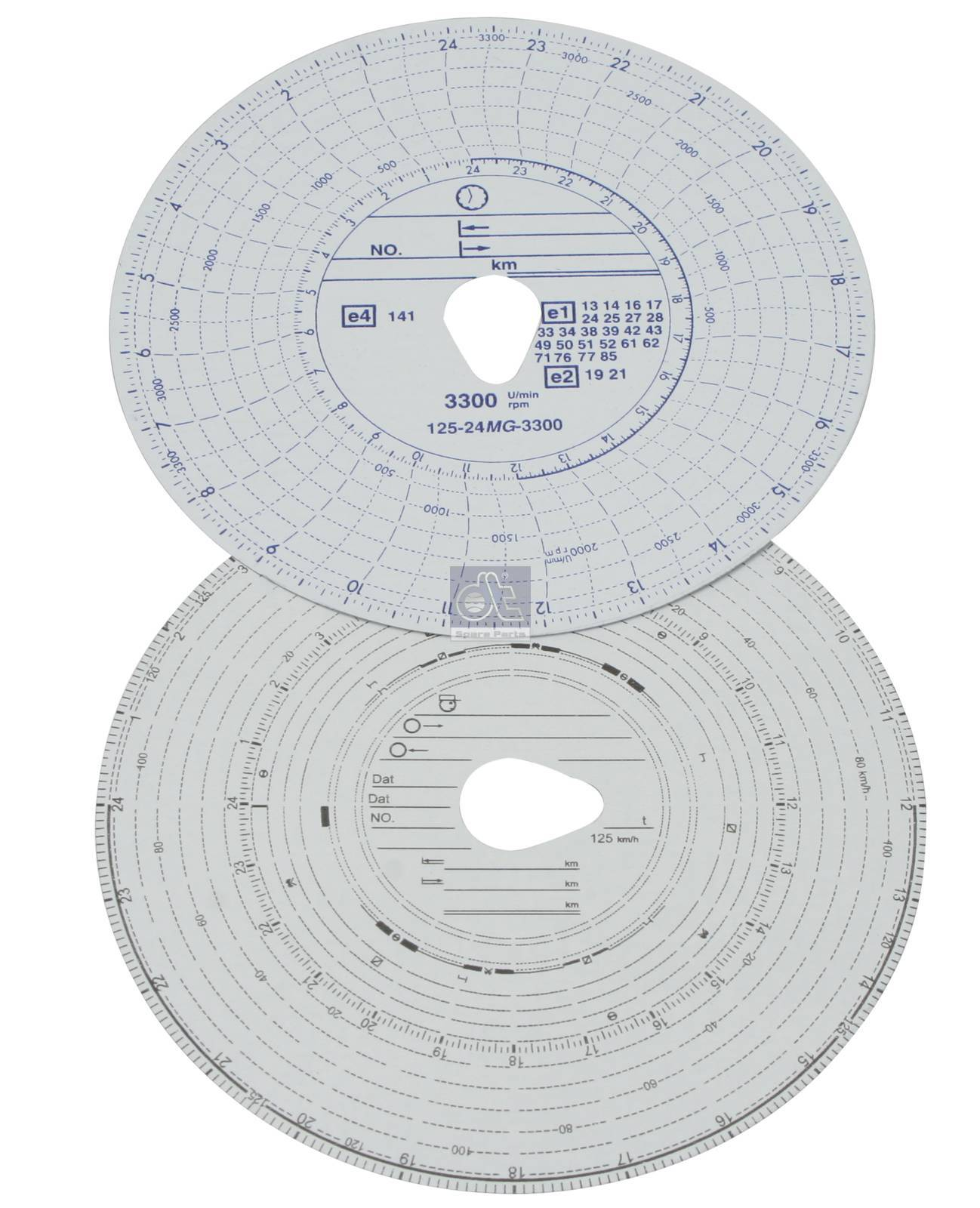 Tachograph disc set, 1 day with rpm