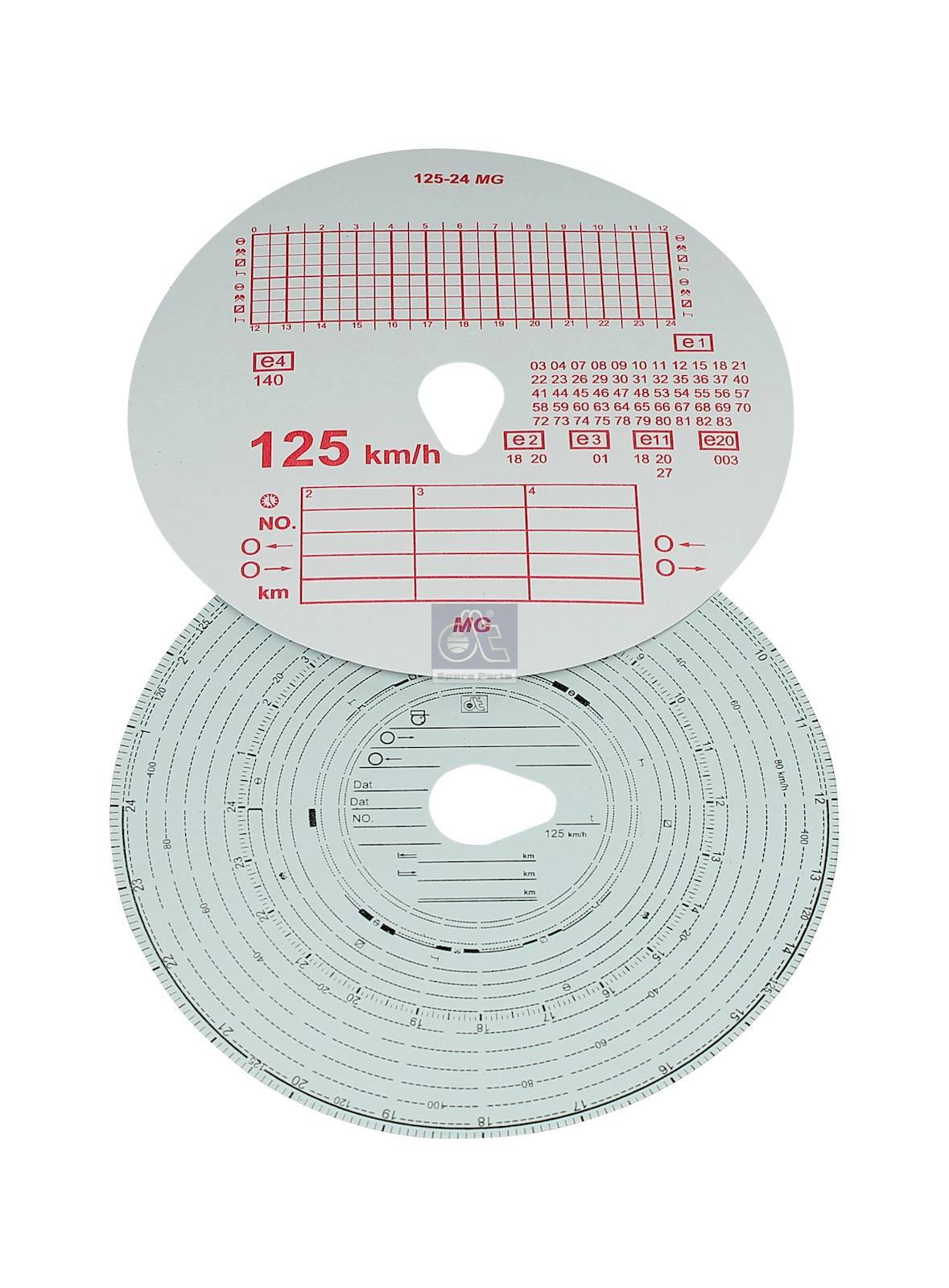 Tachograph disc set, 1 day, 125 km/h