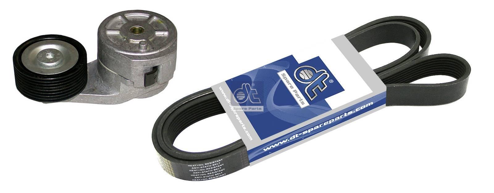 Belt tensioner, complete, with multiribbed belt