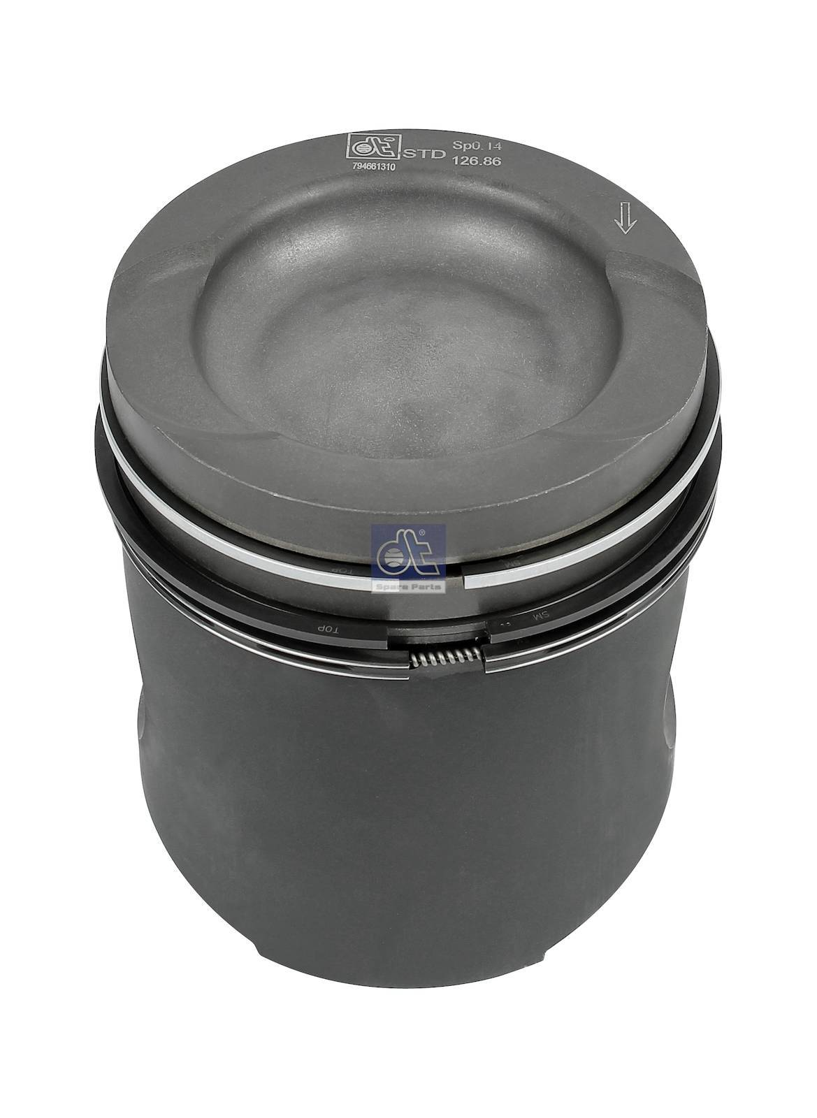 Piston, complete with rings