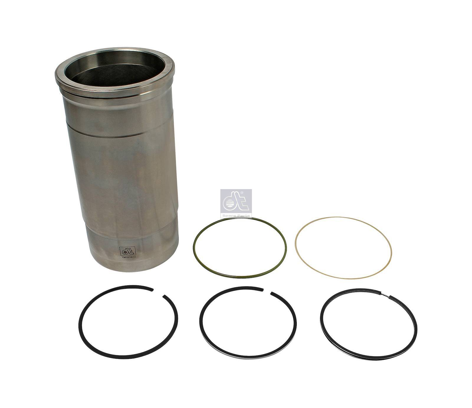 Cylinder liner, with piston rings