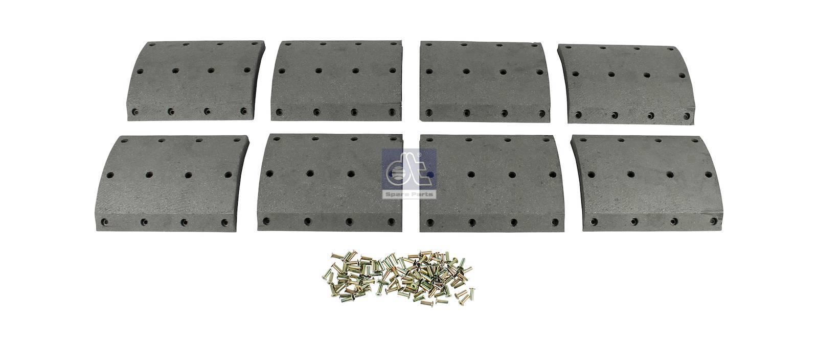 Drum brake lining kit, axle kit