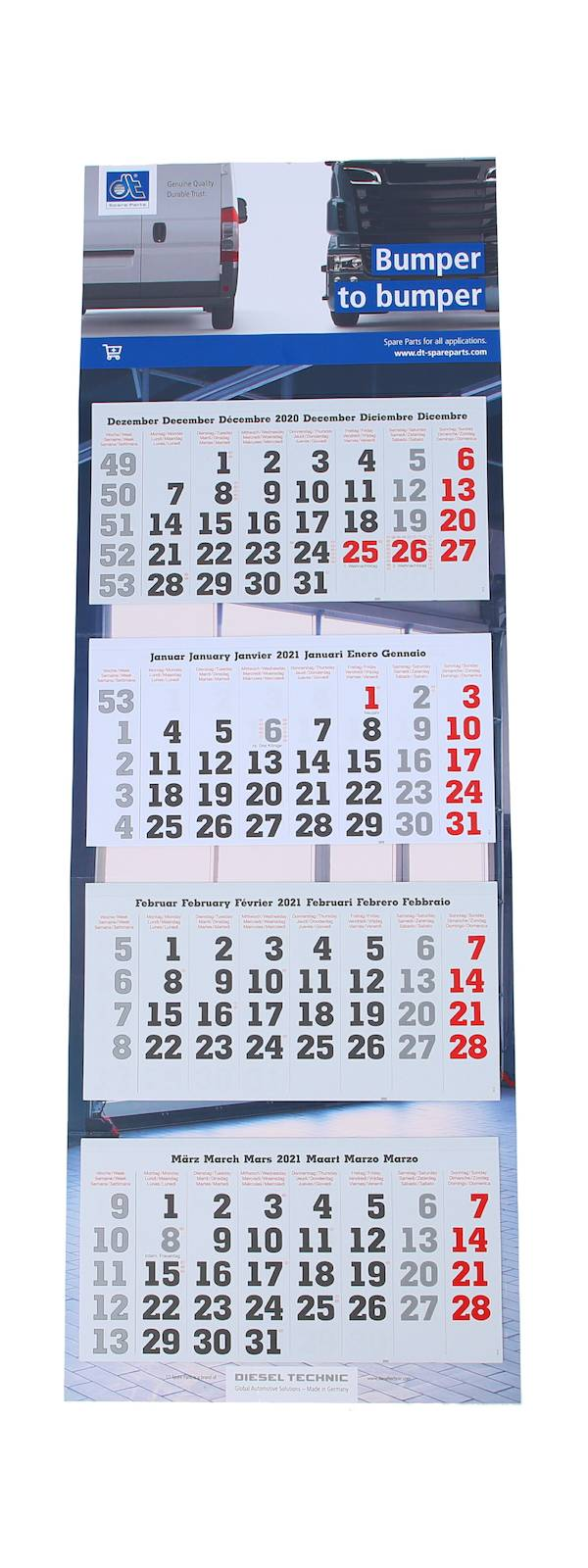 4-month wall calender, UK, with holidays 2021